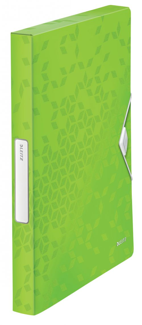 Leitz WOW Box File. Polypropylene. 250 sheet capacity. Spine width 30 mm. A4. Green - Outer carton of 5