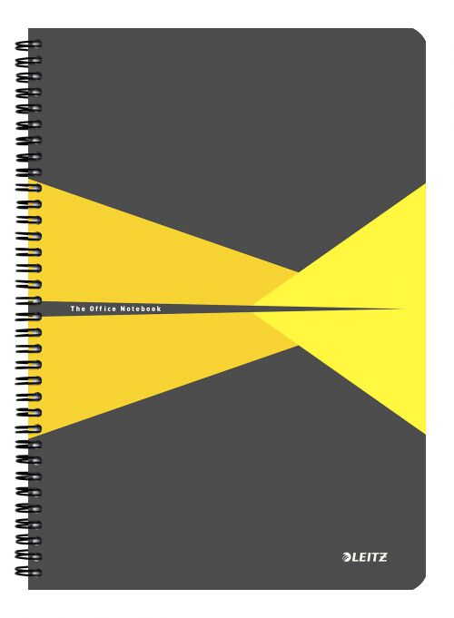 Leitz Office Notebook A4 squared, wirebound with cardboard cover 90 sheets. Yellow - Outer carton of 5