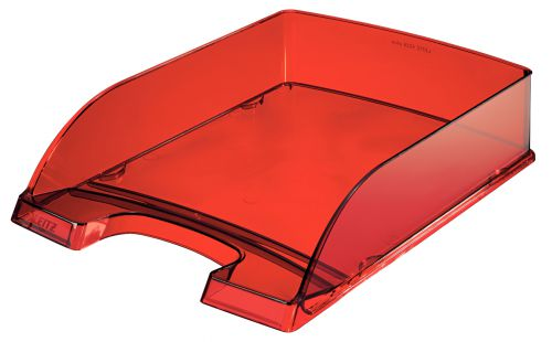 Leitz Plus Letter Tray, Transparent A4. Transparent Red - Outer carton of 5