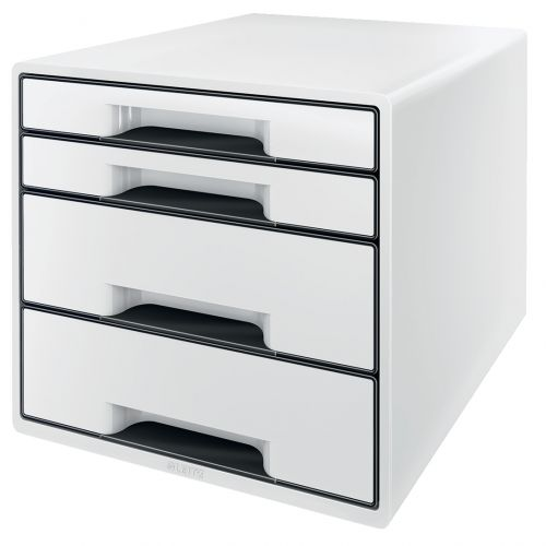 Leitz CUBE WOW 4 drawer unit (2 big and 2 small). A4 Maxi White/black