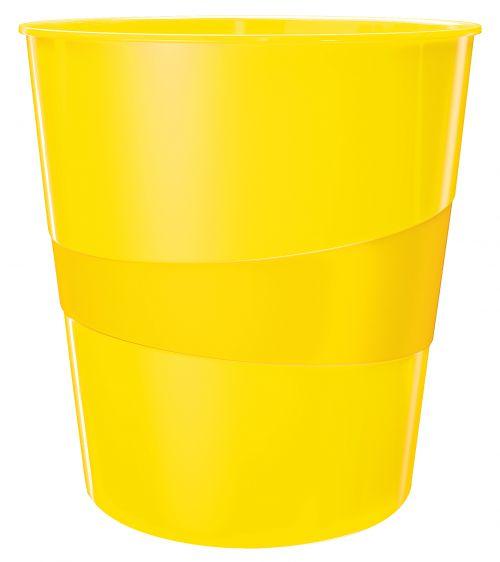 Leitz WOW Waste Bin. 15 litre capacity. Yellow.