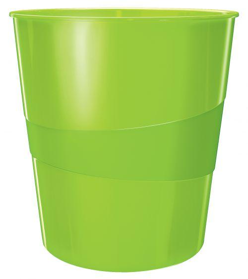Leitz WOW Waste Bin. 15 litre capacity. Green