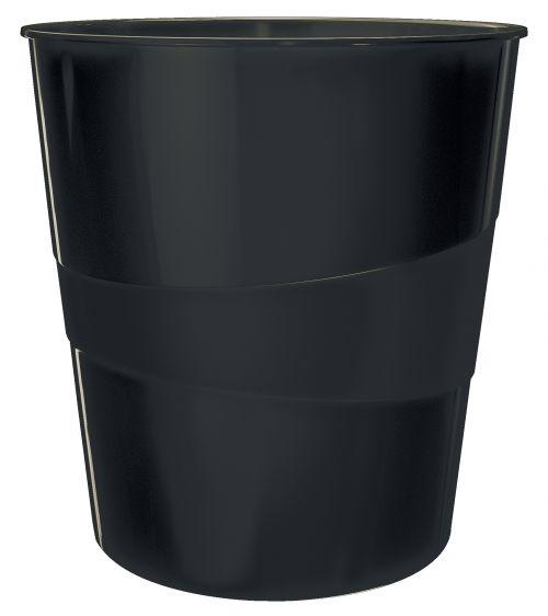Leitz WOW Waste Bin. 15 litre capacity. Black