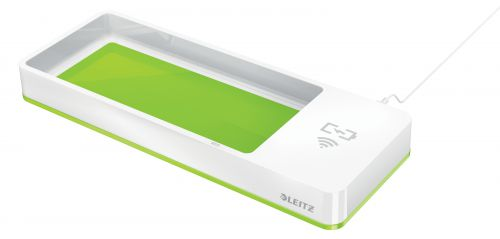 Leitz WOW Desk Organiser with Inductive Charger. White/green.