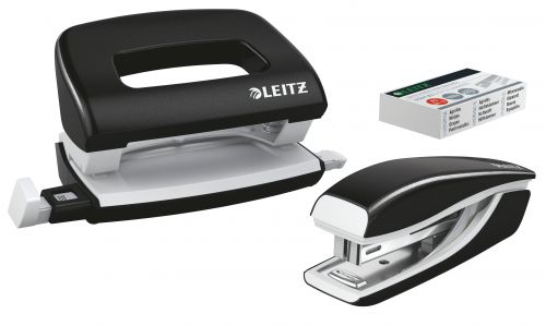 Leitz NeXXt WOW Mini Stapler and Hole Punch Set. 10 sheets. Handy mini version. Includes staples, in blister pack. Black