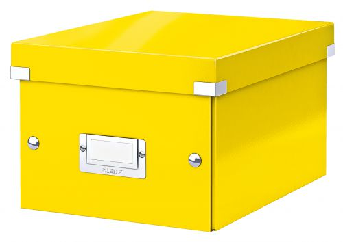 Leitz WOW Click & Store Small Storage Box.  With label holder. Yellow.
