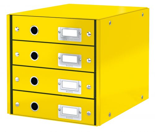 Leitz WOW Click & Store Drawer Cabinet (4 drawers). With thumbholes and label holders. For A4 formats. Yellow.