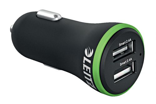Leitz Complete High Speed Dual USB Car Charger 24W Black
