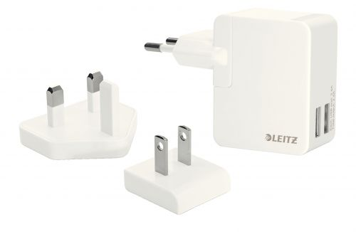 Leitz Complete Traveller USB Wall Dual Charger White