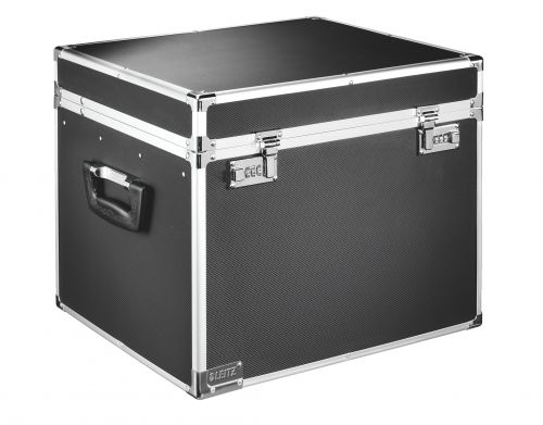 Leitz Lockable Suspension File Chest, A4, Chrome/Black
