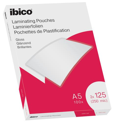 Ibico Gloss A5 Laminating Pouches 250 Micron Crystal clear (Pack 100)