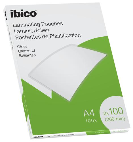 Ibico Gloss A4 Laminating Pouches 200 Micron Crystal clear (Pack 100)