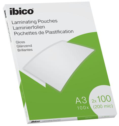 Ibico Gloss A3 Laminating Pouches 200 Micron Crystal clear (Pack 100)
