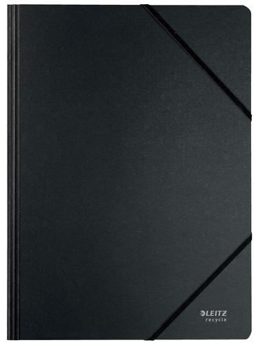 Leitz Recycle Card Folder with elastic bands A4 - Black - Outer carton of 10