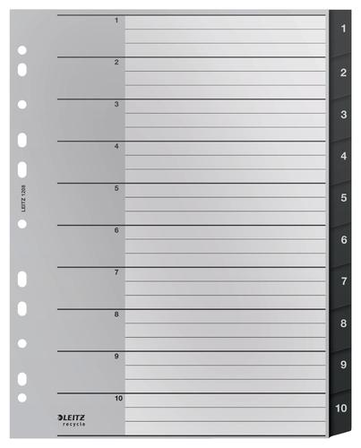 Leitz Recycle Index - PP - extra wide A4 maxi - 1-10 numerical tabs tabs - Black