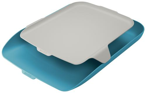 Leitz Cosy Letter Tray with Desk Organiser A4 - Calm Blue