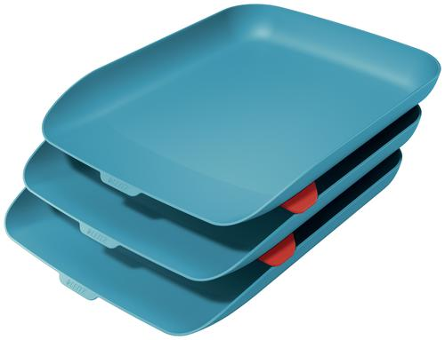 Leitz Cosy Letter Tray - Set of 3 A4 - Calm Blue