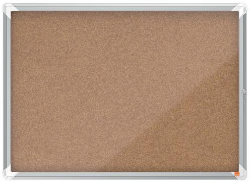 Nobo Premium Plus Cork Lockable Noticeboard Display Case Hinged Door 8 x A4 925x668mm