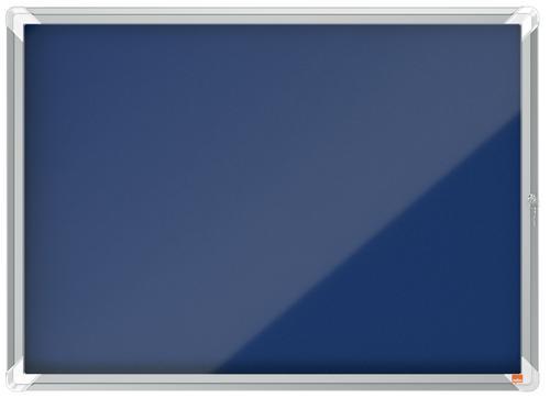 Nobo Premium Plus Blue Felt Lockable Noticeboard Display Case 8 x A4 924x668mm