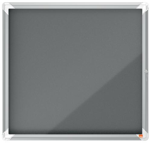 Nobo Premium Plus Grey Felt Lockable Noticeboard Display Case 6 x A4 709x668mm