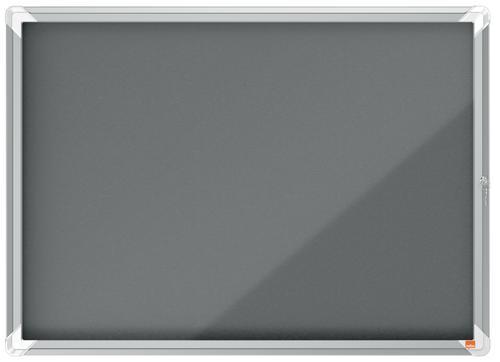 Nobo Premium Plus Grey Felt Lockable Noticeboard Display Case Hinged Door 8 x A4 925x668mm