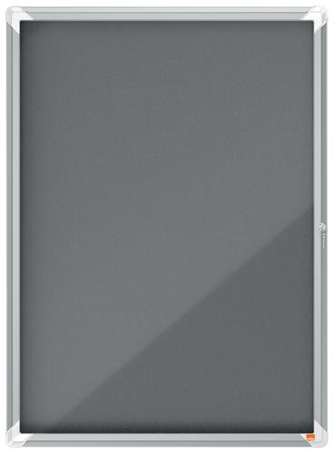Nobo Premium Plus Grey Felt Lockable Notice Board 9xA4