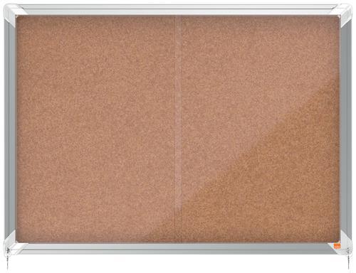 Nobo Premium Plus Cork Lockable Noticeboard Display Case Sliding Door 8 x A4 925x668mm