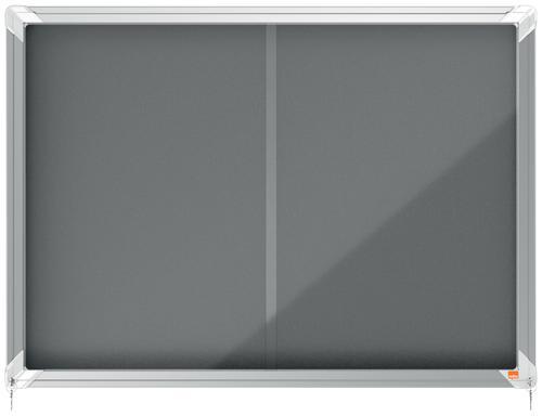 Nobo Premium Plus Grey Felt Lockable Noticeboard Display Case Sliding Door 8 x A4 925x668mm