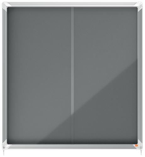 Nobo Premium Plus Grey Felt Lockable Noticeboard Display Case 12 x A4 925x970mm
