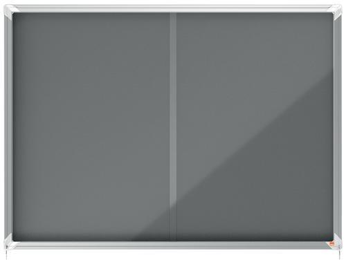 Nobo Premium Plus Grey Felt Lockable Noticeboard Display Case 18 x A4 1355x970mm