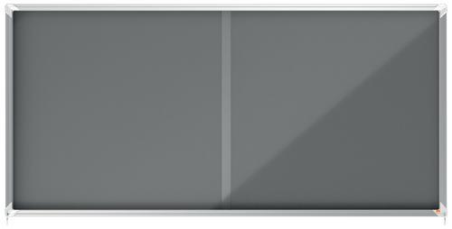 Nobo Premium Plus Grey Felt Lockable Notice Board 27xA4