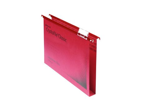 Rexel Crystalfile Classic Suspension File Manilla 30mm Wide-base 230gsm Foolscap Red Ref 70622 [Pack 50]