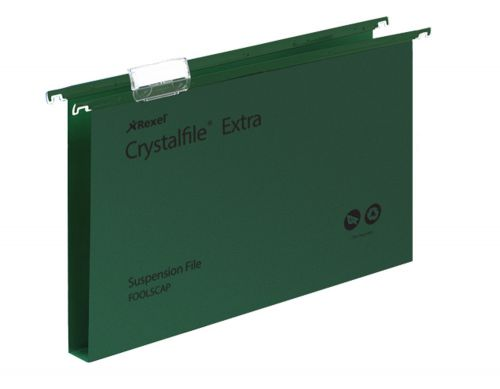 Rexel Crystalfile Extra Suspension File Polypropylene 30mm Wide-base Foolscap Green Ref 70631 [Pack 25]