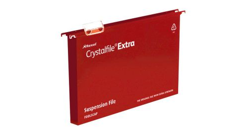 Rexel Crystalfile Extra Suspension File Polypropylene 30mm Wide-base Foolscap Red Ref 70632 [Pack 25]