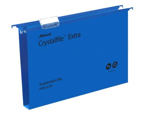 Rexel Crystalfile Extra Foolscap PP Susp File 30mm Blue PK25