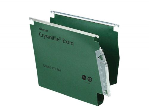 Rexel Crystalfile Extra Lateral File Polypropylene 30mm Wide-base A4 Green Ref 70640 [Pack 25]