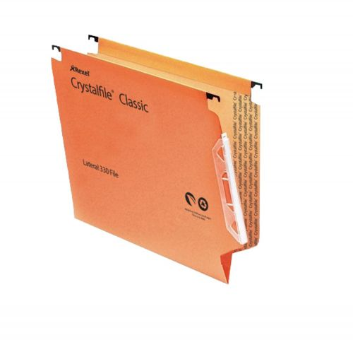 Rexel Crystalfile Classic 15mm Lateral File Orange (Pack of 50) 70671
