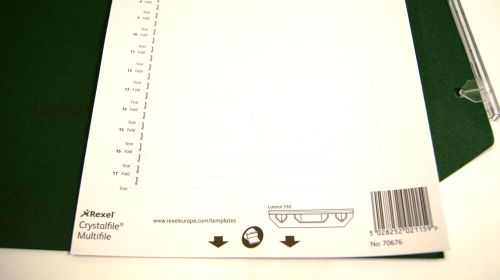 Rexel Printable Inserts for 330 Lateral Suspension File Tabs; White; Crystalfile; Pack of 34
