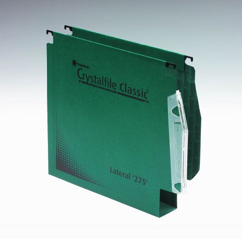 Rexel Crystalfile Classic Linking Lateral File Manilla 50mm Wide-base Green 230gsm A4 Ref 71762 [Pack 50]