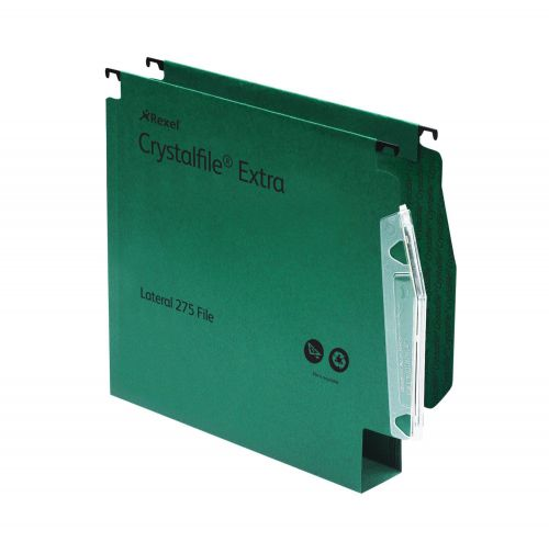 Rexel Crystalfile Extra 275 Foolscap Lateral Suspension File Polypropylene 50mm Green (Pack 25)