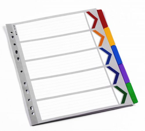 Rexel Mylar A4+ Dividers Extra Wide 5 Part White/Multicolour - Outer carton of 10