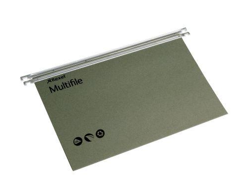 Rexel Multifile Suspension File Manilla 15mm V-base 180gsm A4 Green Ref 78617 [Pack 50]