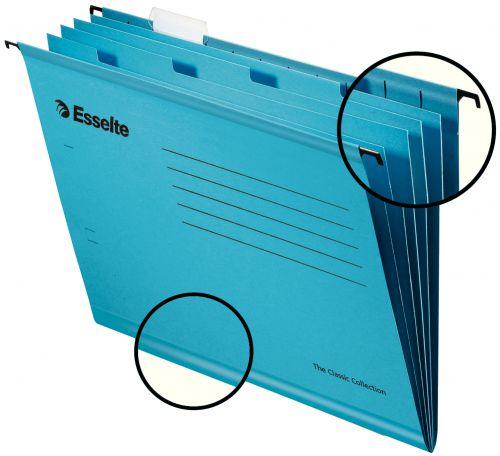 Esselte Pendaflex Foolscap Reinforced Suspension File Card V Base Blue (Pack 10)