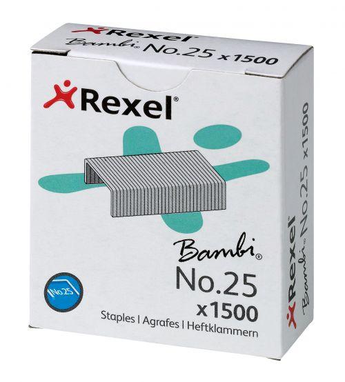Rexel Bambi No.25 4mm Staples (Box 1500) - Outer carton of 20