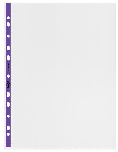 Rexel Quality A4 Punched Pocket with Purple Spine; Clear; Pack of 25 - Outer carton of 4
