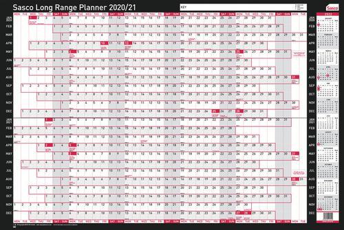 Sasco Mounted Long Range Wall Planner 2020-2022