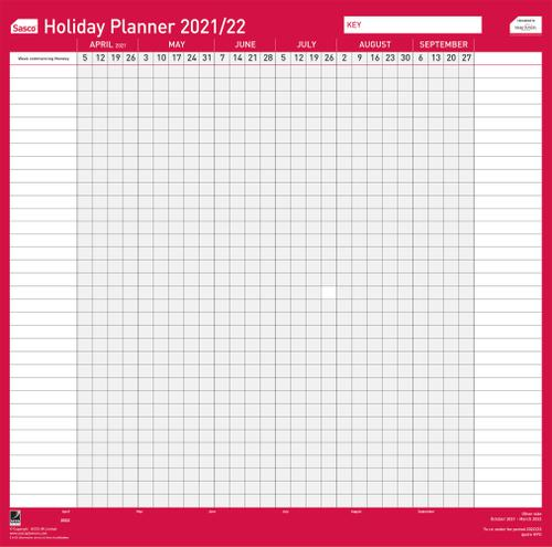 Sasco Unmounted Holiday Planner 2021 - Outer carton of 10