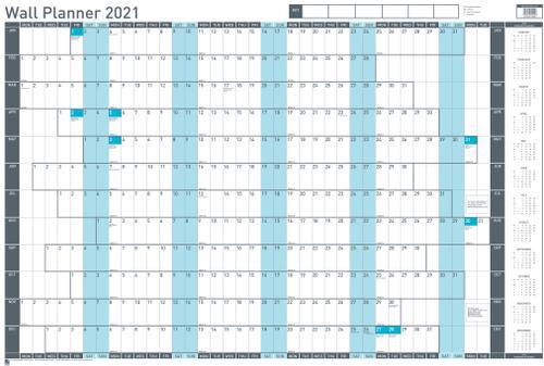 Sasco Mounted Value Wall Planner 2021 - Outer carton of 10