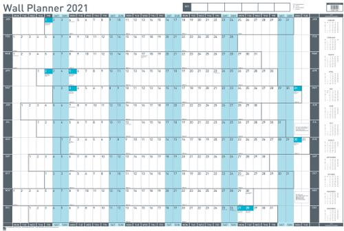 Sasco Unmounted Value Wall Planner 2021 - Outer carton of 10