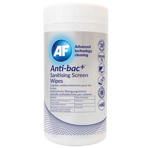 AF Antibacterial Sanitising Screen Wipes Tub of 60